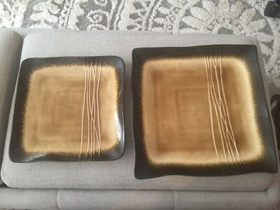 Baum Galaxy Amber Plates 10 1 2 And A 8 1 2 Size 19 00 Picclick