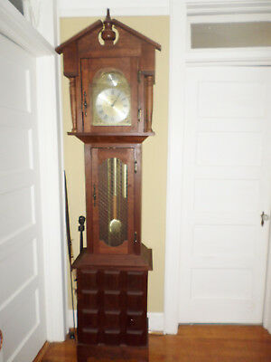 TEMPUS FUGIT EMPEROR 7ft TALL GRANDFATHER CLOCK WALNUT BLOCK CASE MID-CENTURY