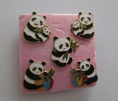 Cutie Pie 5pc PANDA Pin Set New (NJL117