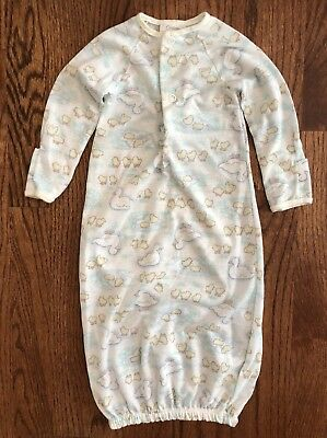 Vintage Carter's Newborn Layette Sleep Sack Gown  Elastic Unisex Ducky Ducks