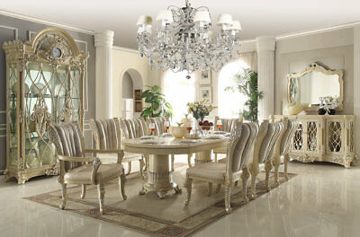 7-9 Pc Formal Dining Set In Antique White Finish Table Chairs European Style