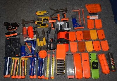 Lot Of 50+ Various Nerf Attachment & Accessories Clips Magazines Grips Barrel