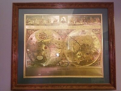 Vintage gold foil blaeu wall map 20x24 handcrafted by kafka blaeu gold foil world map two hemispheres vintage framed publicscrutiny Images