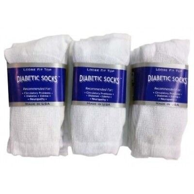 BEST QUALITY white 6 pair of men's Diabetic crew socks 10-13 size (MADE IN USA)