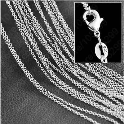"""Wholesale 925 Sterling Silver 2mm O  Link Chain Pendant Necklace Chain 16-30"""""""