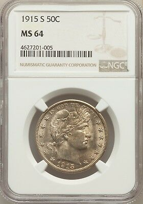 1915 S Barber Silver Half Dollar 50C Ngc Ms64 64 Unc Ms