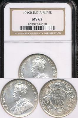 India, British India, 1919(b) Rupee, George V (Silver) - NGC MS62 (Unc)