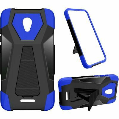For Alcatel Raven LTE A574BL Hybrid Phone Cover Case with Stand - Blue