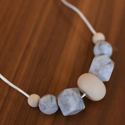 Handmade Silicone Teething Marble Bead Necklace Teether baby shower gift D4
