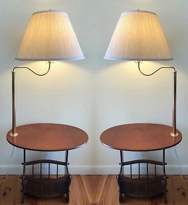 Pair Of Antique Floor Lamps With Attached Oval Table And Magazine Rack