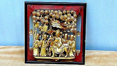 ANTIQUE 19c CHINESE WOOD GILT LACQUERED PIERCED RELIEF BIRDS,TREES,TEMPLE PANEL