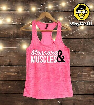 acc7d2276fcfce MUSCLES AND MASCARA Workout Tees Funny Crossfit Lifting Womens Gym T ...