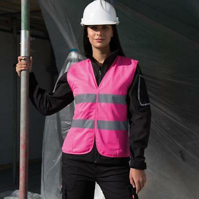 Ladies Fitted Pink Hi Vis Vest High Visibility Hen Night Horse Safety Sz 6-18