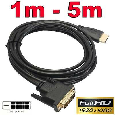 Gold HDMI to DVI-D 24+1 Pin Digital Cable Lead for HDTV BluRay PS3 Xbox 360 TV