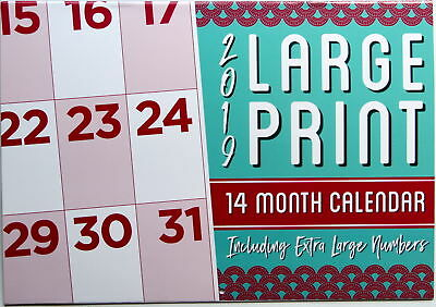 Large Print 2019 Rectangle Wall Calendar 14 Months New Year Christmas Decor Gift