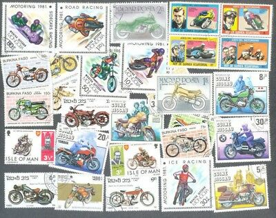 Motorcycles-Motorbikes  50 all different stamp collection-