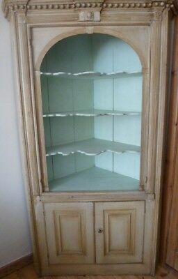 Antique Old Pine Genuine Painted Corner Cupboard Dresser Open Display Shelves
