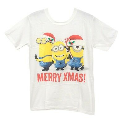 aa8c4b78a NEW Mens White Minions Merry Xmas Despicable Me Christmas Gift T-Shirt Tee  S M L