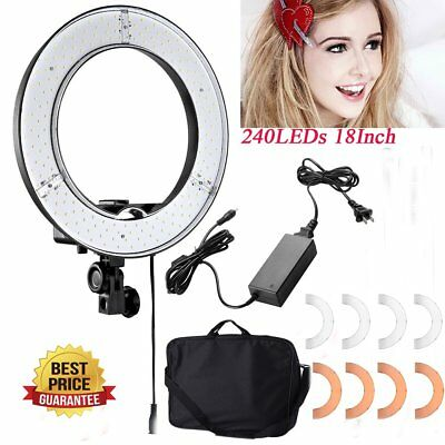 Camera Photo Video Lighting Kit 18 inch /48cm Outer 55W 5500K Dimmable 240LED BP