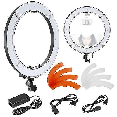 """18"""" Dimmable SMD LED Ring Light w/ Top/Bottom Dual Hot Shoe & Color Filters BP"""