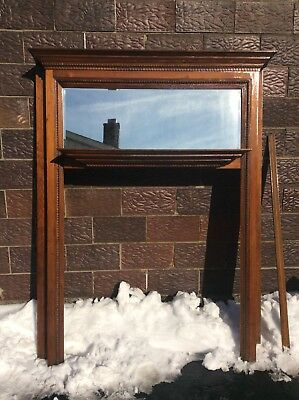 """Vtg  Wood 80 3/4"""" Tall Fireplace Mantle With Mirror - Has Side Trim - Very Good"""