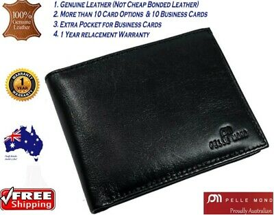 Mens Genuine Leather Clutch Gents Slim Bifold Zip Flip Card Holder Coin Wallet