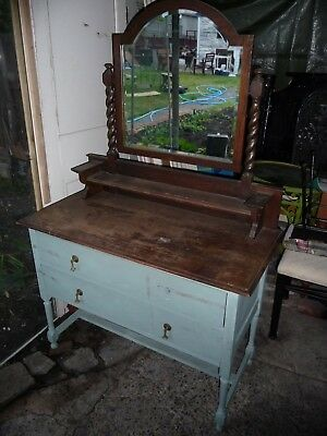 Vintage Dressing Table Dresser With Mirror