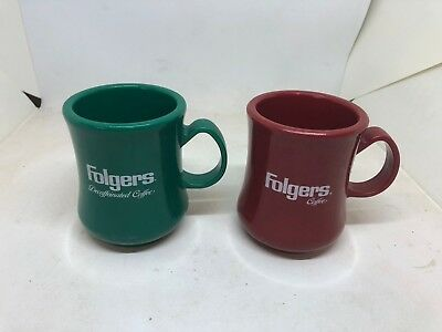 Vintage Red and Green Folgers Heavy Plastic Coffee Mugs Continental Carlisle