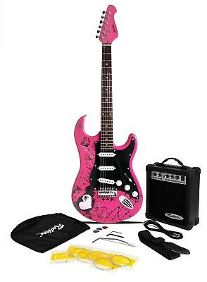Jaxville Pink Punk Electric Guitar Pack: Amp Gig Bag Strings Strap Lead Pics