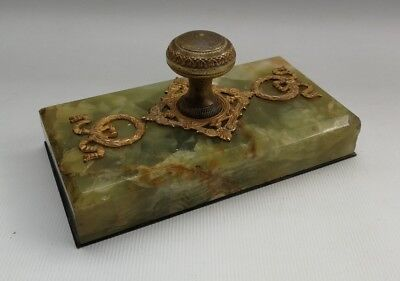 Vtg 19thC Antique French Gilt Ormolu & Green Marble Paperweight Presse-Papier