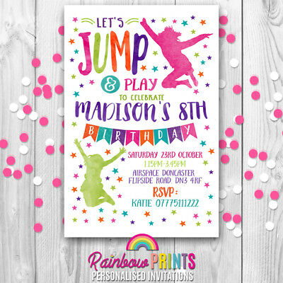 jump trampoline personalised birthday party invitations invites kids