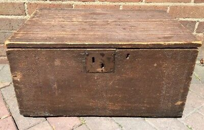 Old Antique GEORGIAN or Earlier Solid Wood Box / Chest / Trunk Hand Crafted.