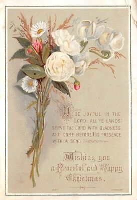 Victorian Christmas Greeting Card Christian Sentiment Flowers Floral