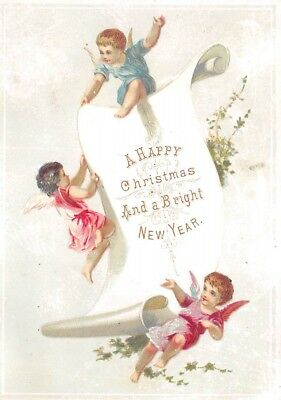 Victorian Christmas New Year Greeting Card Angels