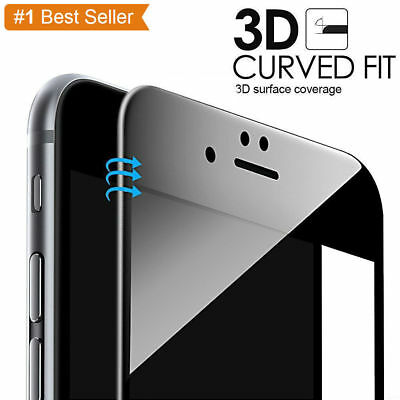 Black Full Cover Tempered Glass 3D Curved Screen Protector For iPhone 7