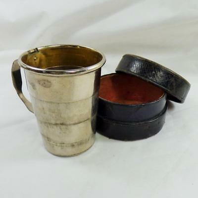 VINTAGE LEATHER CASED COLLAPSIBLE STIRRUP CUP campaign travel drinking CAMPAIGN