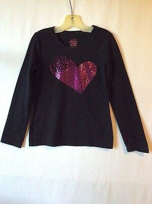 Faded Glory Girls Long Sleeve Shirt Size M Black/Pink Bling Heart
