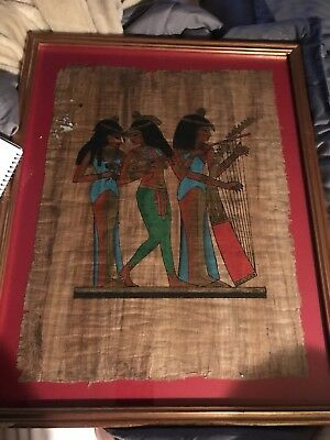 EGYPTIAN Dancers playing instruments HAND PAINTED ON PAPYRUS, SIGNED BY ARTIST