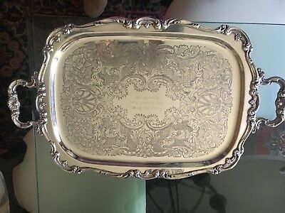 Large Antique Gorham Heritage Silver Tea Butler Serving Tray w/ handles YH 318
