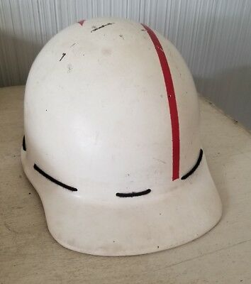 Vintage Fiberglass Hard Hat Msa No Liner White Red