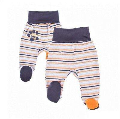 BNWT Baby Infant Boys GREY/ORANGE Striped Trousers with feet* 100% COTTON