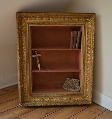 Antique French Display Shelves in Gilt and Gesso Frame- Very Rare.