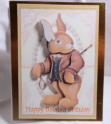 Handmadecute 3dim Late Im Late Belated Birthday Cardby D456