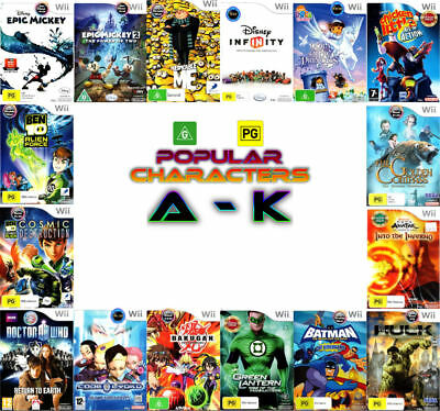 Nintendo Wii 💚💛 G & PG Games - POPULAR CHARACTERS - Titles A to K 💛💚 27/08