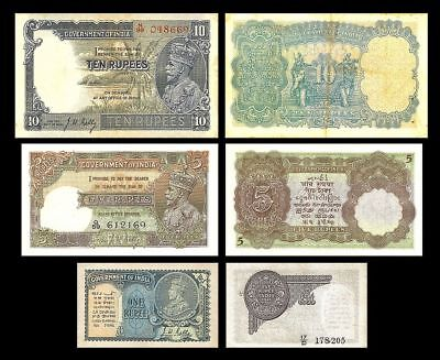 2x 1, 5, 10 Rupees India - Issue ND (1928-1935) - 6 Banknotes - 11