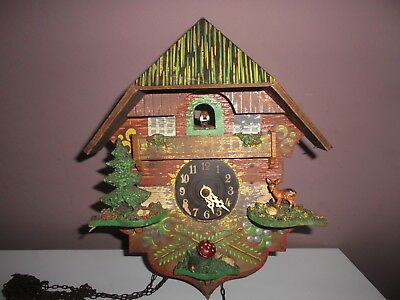 Vintage German Wooden Musical Chalet Style Cuckoo Clock Restoration