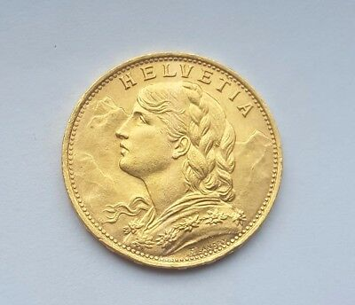 Switzerland 1922 B Gold Coin 20 Francs