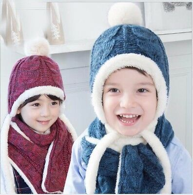 2PC High Quality Winter Boys Girls Toddler Kids Warm Knitted Hat Scarf Gift