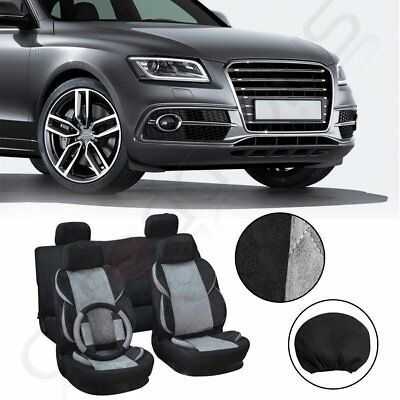 Universal Grey/Black Suede + Polyester Car Seat Covers W/Steering Wheel Cover