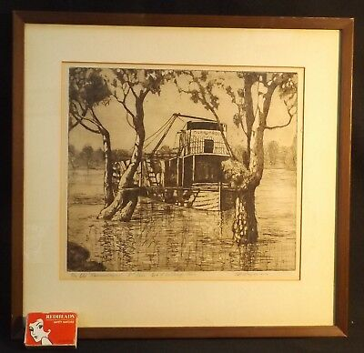 Framed Engraving The Old Murrumbidgee Paddle Steamer Max Ragless No 6/20 Proofs